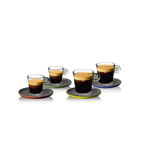 Nespresso Glass Espresso & LungoConjunto de 2 xícaras Espresso (aprox. 80 ml) & 2 Lungo (aprox. 150 ml) de vidro temperado e pires bicolor, preto e cinza carvão, em melanina.
